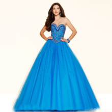 2016 Tall Girl Organza Blue Ball Gown Sequins Designed Beaded Lace up Party Gown Long New Prom Dresses Sweet neckline