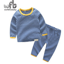 Retail 1-10 cotton long-sleeved T-shirt home service + pants black striped children spring fall autumn