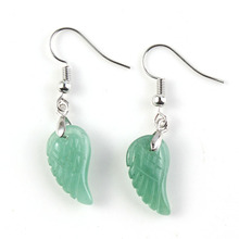 UMY New Trendy Silver Plated Natural Green Aventurine Wing Angel Drop Earrings Women Designs Jewelry - kraft-beads Store store
