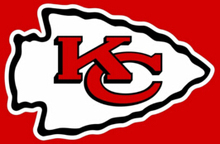 Kansas City Chiefs red grey black logo and helmet flag 3ft x 5ft Polyester Banner 90x150cm white sleeve with 2 Metal Grommets