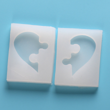 Heart Puzzle Jewelry Beading Casting Epoxy Mold DIY Silicone Mold Bookmark Resin Cake Decoration Tool Fondant Chocolate Mold(China)