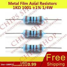 1LOT=100PCS Metal Film Axial Resistors 1Kohm 1001 1% 1/4W 1000ohm 0.25W Wattage1/4W electronic components china