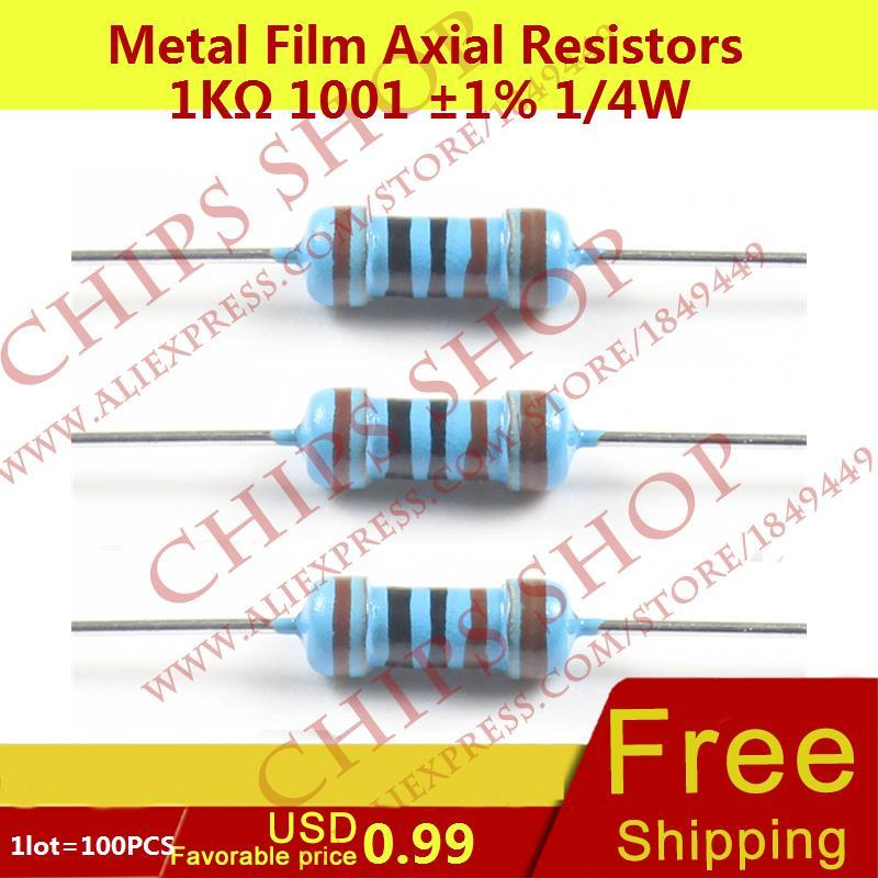 1LOT=100PCS Metal Film Axial Resistors 1Kohm 1001 1% 1/4W 1000ohm 0.25W Wattage1/4W electronic components china(China)