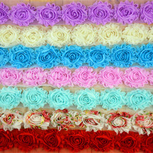 "Wholesale 26Colors 40 yards High Quality 2.5"" Frayed Chiffon Shabby Flowers Chic Lace Flower Trims Free Shipping #FH43"