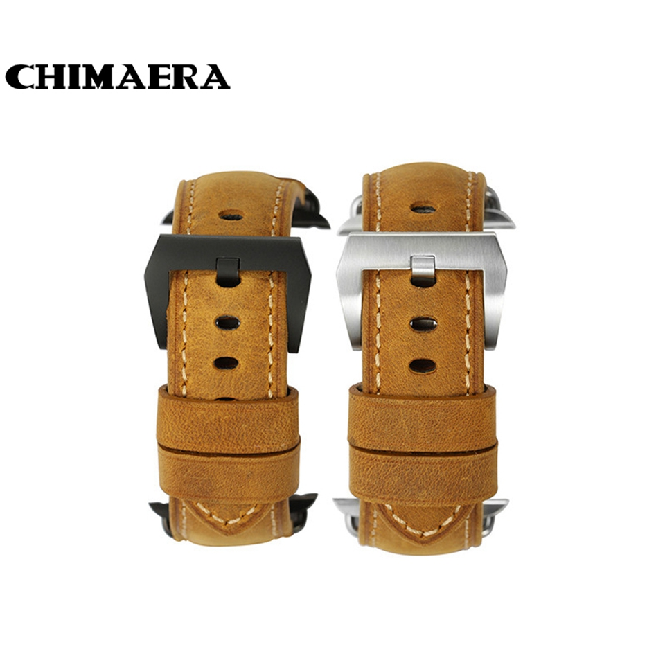CHIMAERA Genuine Assolutamente Leather Watch Strap Handmade Padded Band Bracelet for Iwatch Apple Watch band 38mm 42mm<br>