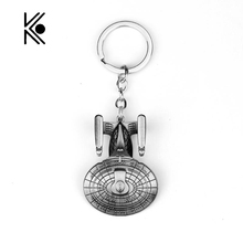 Star Trek Spacecraft U.S.S. Enterprise Air Plane Charm Keychain Key Ring Pendant Film Collection Charms Key Chain Men Cosplay(China)