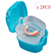 2Pcs Denture Bath Box Case Dental False Teeth Storage Box with Hanging Net Container Aug30 Professional Factory price(China)
