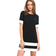 YJSFG HOUSE Ladies Color Block Casual Mini Dresses New Autumn Style Black White Patchwork Crew Neck Short Sleeve Shift Dress(China)