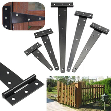 Black Iron Tee Hinge t hinges Cabinet Shed Door Garden Wooden Gate 4''/6''/8''/10''/12'' for Light Gates & Doors Black Furniture(China)