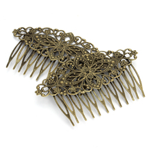 10pcs 12 Teeth Vintage Hollow Flower Wedding Tiara Antique Bronze Color Metal Hair Combs for Women Bridal Hair Pins Accessories