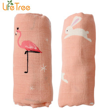 2pcs/ Set Bamboo Muslin Cotton Baby Swaddles 120*120cm Newborn Baby Blankets Double Layer Gauze Bath Towel Hold Wraps(China)