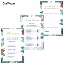 OurWarm 150Pcs Wedding Wishes Cards Bridal Shower Ideas Funny He Said She Said Games Flamingo Invitations Event Party Supplies(China)