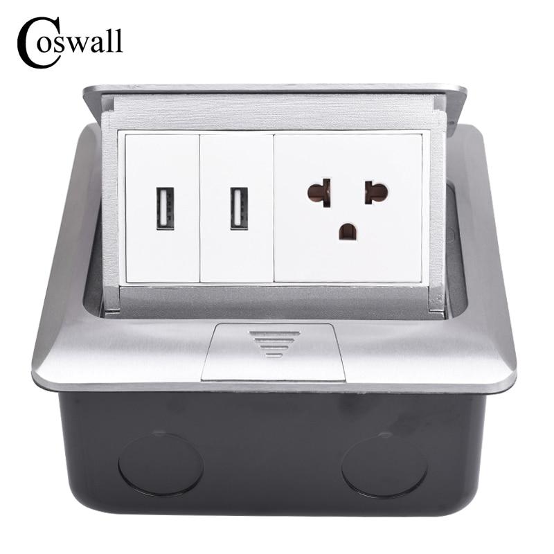 Coswall All Aluminum Silver Panel EU Standard Pop Up Floor Socket ...