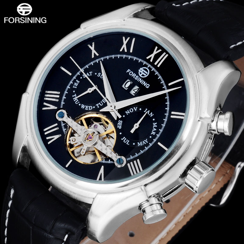 Forsining Luxury Business Men Vintage Automatic Mechanical Watches Mens Leather Strap Tourbillon Wristwatches Relogio Masculino<br>