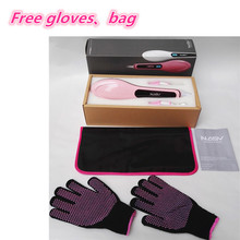 Perfect Match !!! Professional Electric LCD hair straightener brush with FREE Heat insulation gloves & travel bag(China)