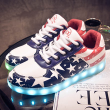 2017 Autumn New Size 30-40 Kids Luminous Sneakers for Girls Boys Women Shoes with Light Led Shoes with Glowing Sneakers(China)