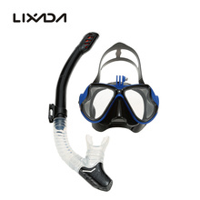 Lixada Adult Diving Masks Scuba Snorkeling Swimming Tempered Glass Goggles Full Dry Tube Snorkeling Mask Full Dry Silicone(China)