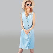 Brief Dresses Uk Sleeveless 2017 Summer Topshop Buttons Fashion V-neck Women Noble Classic Work Newest Knee Length Dress