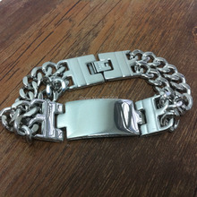 Manufacturers selling men's 316L stainless steel jewelry silver Tag Bracelet (length, width: 8.66 inches; 17mm). Ppss-026(China)