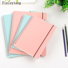 Creative Simple Color PP material Cover Silver Double Coil Ring Spiral Notebook A5 B5 Dot Blank Grid Line Inside Paper Notepad(China)