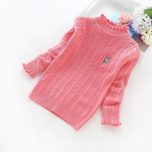 2016new fashion girls cotton sweaters 3-14 years children's clothing solid color knit girls' sweaters 6011