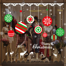 Christmas Wall Sticker Printing Xmas Balls Reindeer Removable Decoration Store Background Stickers adesivo de parede(China)