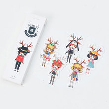 30 pcs/box Cute deer girl paper bookmarks kawaii stationery book holder message card school supplies papelaria kids gifts(China)