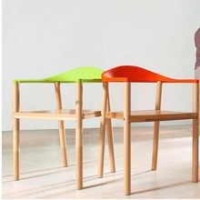 Hot New Arm chair,fashion Oak chair,wooden dining chair,living room furniture,wood+ plastic furniture,Colors chair(China)