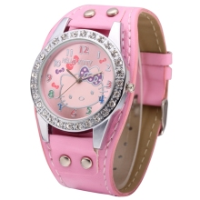 Cute Hello Kitty Girls Cartoon Child Watch Fashion Mujer Relojes Quartz Women Crystal Watches Relogio Leather Strap Clock(China)