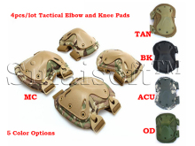 4pcs/set Military Tactical Extreme Sports Safety BMX SWAT X-type Protective Gears Elbow Support Knee Pads For CS Outdoor Equip