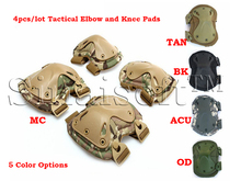 4pcs/set Military Tactical Extreme Sports Safety BMX SWAT X-type Protective Gears Elbow Support Knee Pads For CS Outdoor Equip(China)