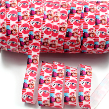 "5/8"" 16mm 50 Yards Single Face Printed Fold Over Elastic Hair Tie DIY Handmade Ponytail Band Decoration  HT01-PG022-03296"