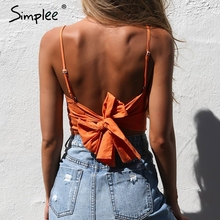Simplee Belt lace up camisole tank top tees women Summer beach bow female cami crop top Sexy backless sleeveless short top