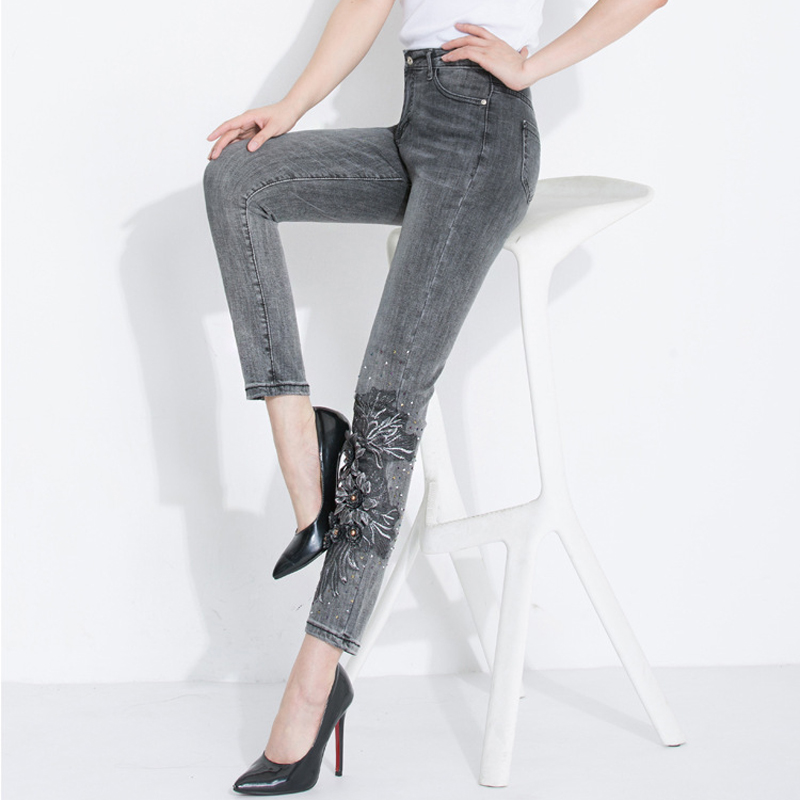FERZIGE Brand Pants 2019 Skinny Pencil Pants Women Beautiful Handmade Beading 3D Embroidery Jeans Female Streetwear Gray PantS