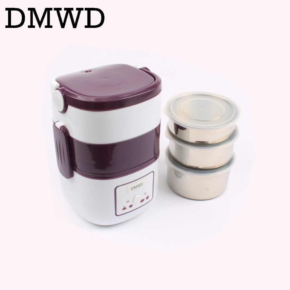 DMWD 3 Layers Electric insulation heating lunch box pluggable Steamer electrical Rice Cooker stainless steel Food Container EU<br>