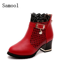 2017 Autumn New Style Winter Pattern Ankle Boots Sexy Lace Cuff Thick Heel women Boots Fall Fashion Black Or Red women Shoes(China)