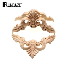 RUNBAZEF Wood Carving Flower of European Furniture Door Small Home Decoration Crafts Figurines Miniatures Accessories(China)