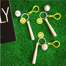 Lucky smile keychains pendant baseball lovely expression key bag pendant accessories keyring jewelry on bag Keychain women gift