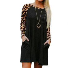 Fashion Leopard Print Dresses For Women Spring Long Sleeve O-neck Casual Loose Beach Sundress Women's Patchwork Party Dresses #Z(China)