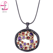 ZHE FAN AAA Cubic Zirconia Unique Black Gold Color Necklace Women Men Two Tone Plating Fashion Jewelry Valentines Gift + Chain
