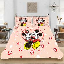 Disney's Cartoon Mickey Love Minnie Bedding set Bedclothes Include Duvet Cover Pillowcase Print Home Textile Bed Linens(China)
