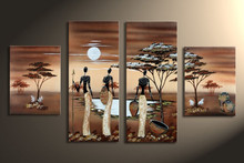 Hand Painted Africa Landscape Oil Painting On Canvas Acrylic African Women Paintings Modern Home Decor Wall Art 4 Panel Pictures