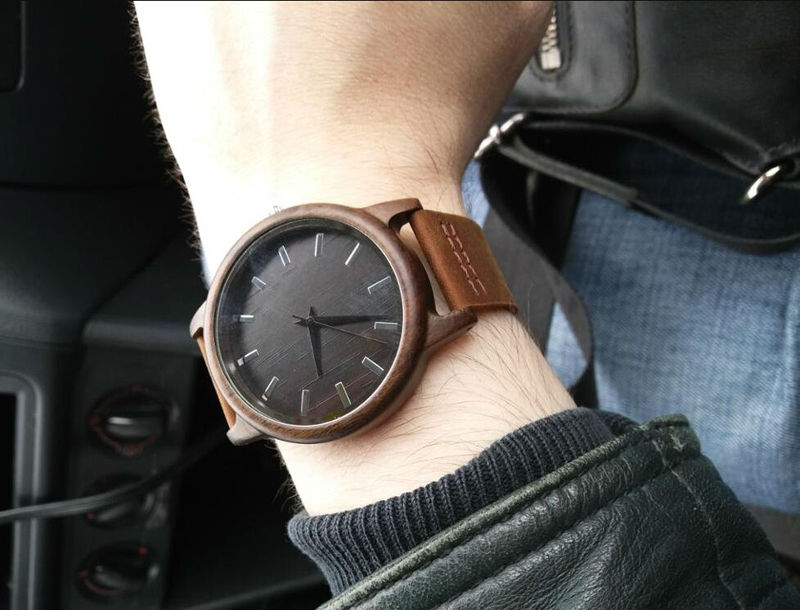 SIHAIXIN Man Watches Classic Luxury Leather Straps Quartz Male Clock Engraved With Personal Text Wood Wristwatch Gift For Him 6