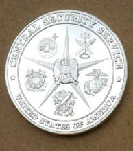 40mm Central Security Service. National Security Agency. Medal Silver Plated Medal. FBI CIA KGB COIN