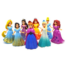 8pcs/lot PVC Dress Up Snow Princess Dolls Action Figure Doll Set Dress Can Change Clothes Classic Toys for Girl Christmas Gifts(China)