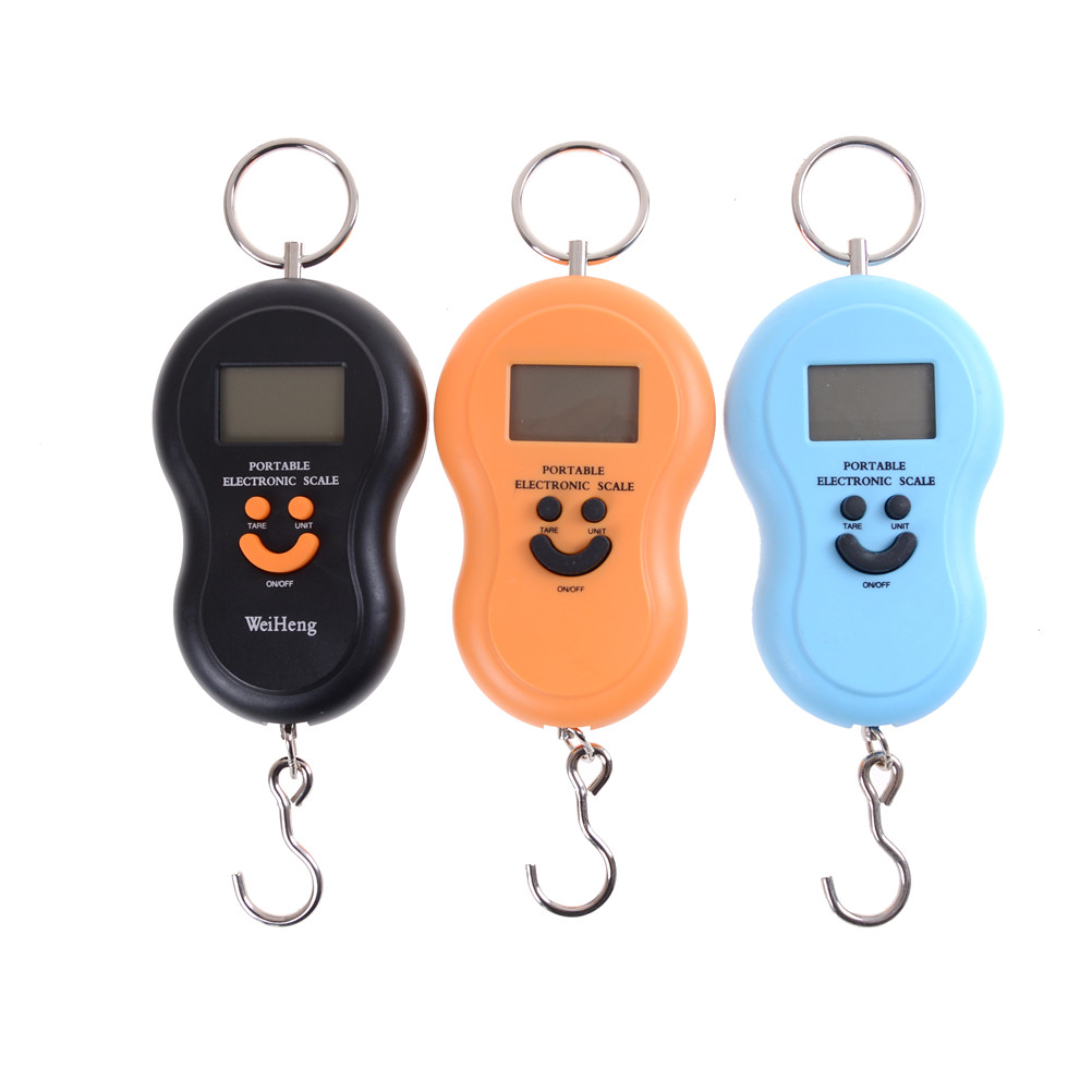 50Kg /10g Portable Hanging Scale LCD Digital Blue Backlight Fishing Pocket Weight Luggage Scales Color Random