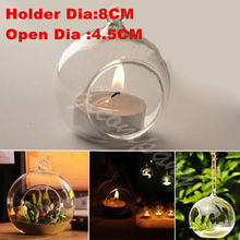 Candlestick Crystal Glass Hanging Candle Holder Romantic Wedding Dinner Decor