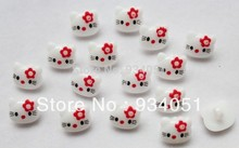 Set of 200pcs kitty cat with Tie Flower Buttons 14mm Plastic Shank Buttons for Kids Clothing, Baby Garment Free Shipping