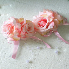 New Artificial Daisy Rose Boutonniere Corsage Wrist Brooch Flower Wedding Church Decor Pink