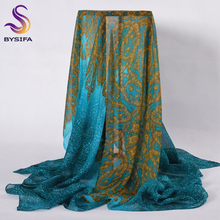 [BYSIFA] Ladies Peacock Blue Silk Scarf Shawl Wraps 100% Mulberry Silk Women Large Square Scarves Wraps For Spring Autum Winter(China)